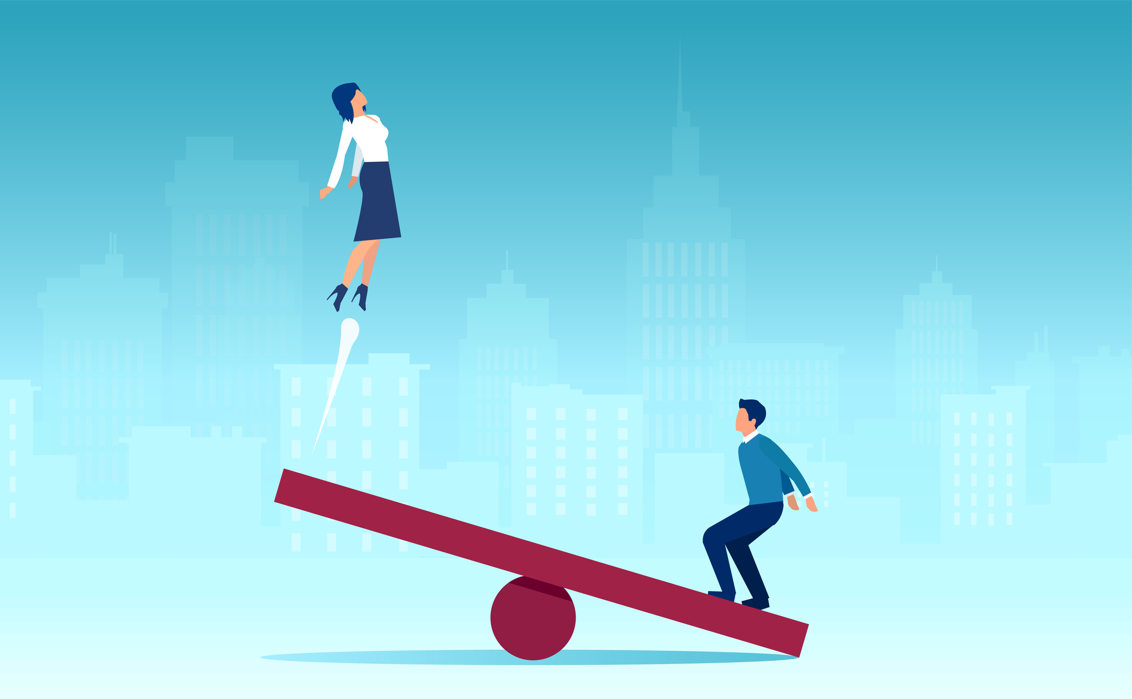 Vector of a man jumping on a seesaw helping a woman to fly up on the other side
